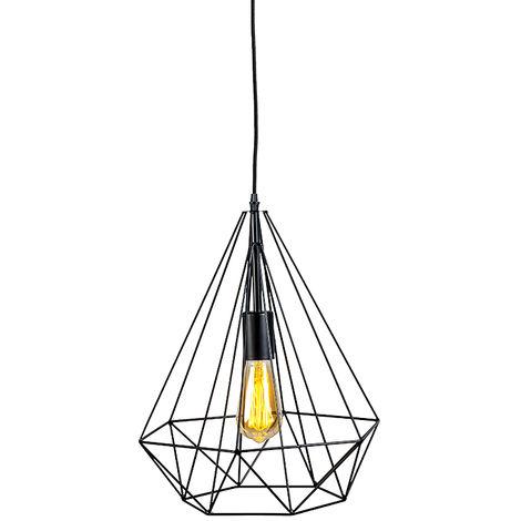 QAZQA Diseño Lámpara colgante industrial negra 3 luces - carcasa Acero Otros Adecuado para LED Max. 3 x 41 Watt