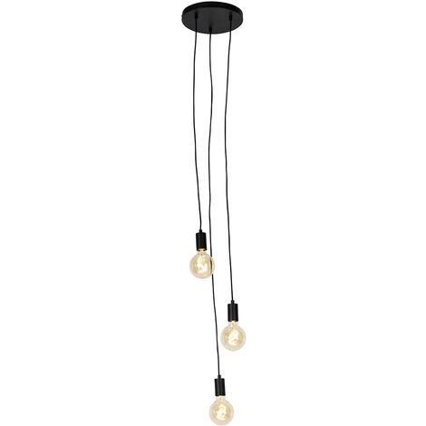 QAZQA Diseño Lámpara colgante industrial negra - FACIL 3 Cilíndra Adecuado para LED Max. 3 x 60 Watt