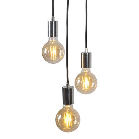QAZQA Diseño Lámpara colgante moderna cromada - FACIL 3 Acero Cilíndra Adecuado para LED Max. 3 x 60 Watt