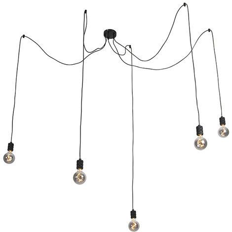 QAZQA Diseño Lámpara colgante negra con 5 lámparas regulables G95 ahumadas - Cavalux Acero /Vidrio Alargada Adecuado para LED Max. 5 x 4 Watt