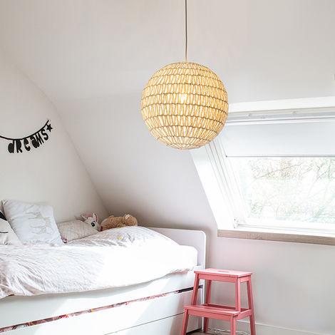 QAZQA Diseño Lámpara colgante retro blanca 60cm - LINA Ball 60 Metálica /Textil Esfera Adecuado para LED Max. 1 x 60 Watt