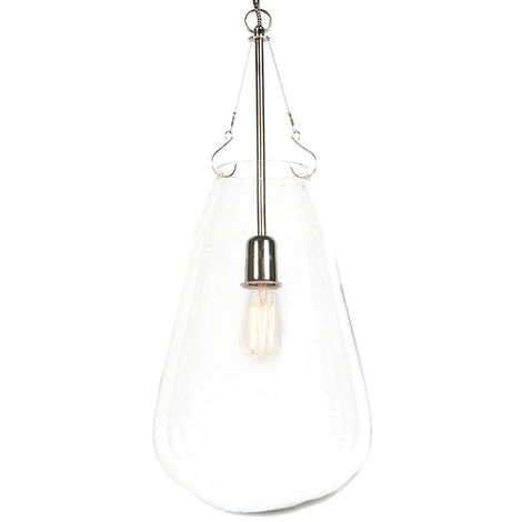 QAZQA Diseño Lámpara colgante retro redonda cristal con níquel - SIKKA Vidrio /Acero Redonda /Orgánica Adecuado para LED Max. 1 x 40 Watt