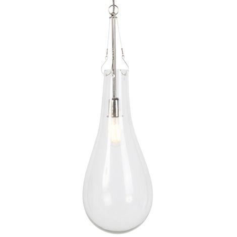 QAZQA Diseño Lámpara colgante retro redondo cristal con níquel - NEHRU Vidrio /Acero Redonda Adecuado para LED Max. 1 x 40 Watt