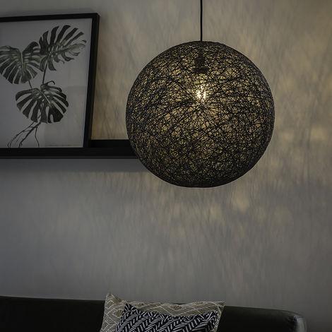 QAZQA Diseño Lámpara colgante rústica gris 35 cm - CORDA Acero /Papel Redonda /Esfera Adecuado para LED Max. 1 x 60 Watt
