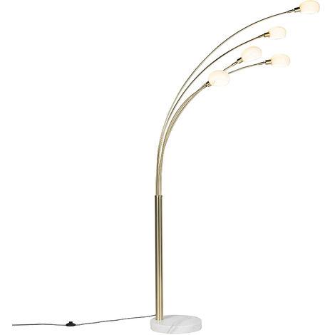 QAZQA Diseño Lámpara de pie Art Deco oro 5-luces - SIXTIES Marmo Acero /Mármol /Vidrio Alargada Adecuado para LED Max. 5 x 40 Watt