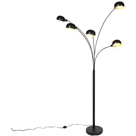 QAZQA Diseño Lámpara de pie de diseño negro 5 luces - años 60 Acero Alargada Adecuado para LED Max. 5 x 25 Watt