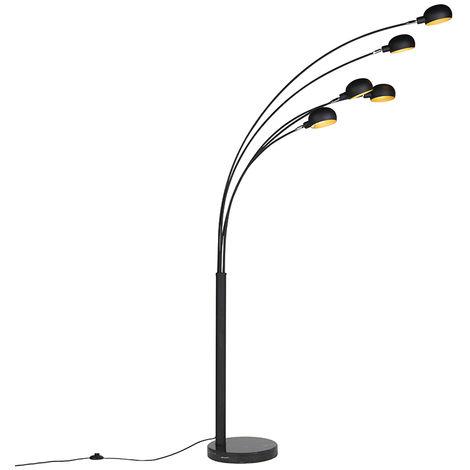 QAZQA Diseño Lámpara de pie diseño negro 5-luces -SIXTIES MARMO Acero /Mármol Alargada Adecuado para LED Max. 5 x 40 Watt