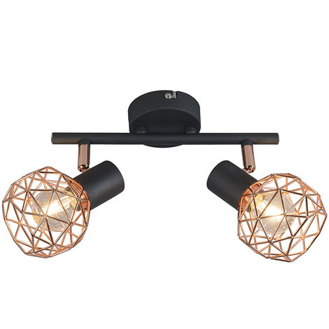 QAZQA Diseño Plafón moderno negro cobre 2 luces - MESH Acero Redonda /Esfera Adecuado para LED Max. 2 x 40 Watt