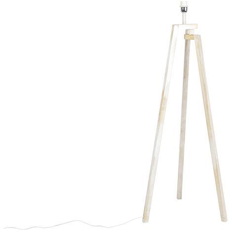 QAZQA Diseño Trípode diseño madera blanca - CORTINA Otros Adecuado para LED Max. 1 x Watt