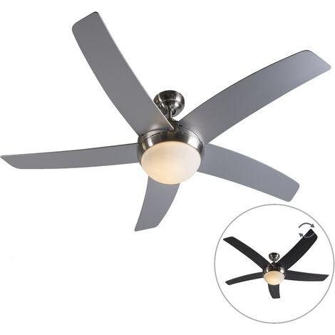 QAZQA Diseño Ventilador de techo con luz y mando a distancia con luz de acero con control remoto - Cool 52 Vidrio /Madera /Acero Redonda Adecuado para LED Max. 2 x 40 Watt