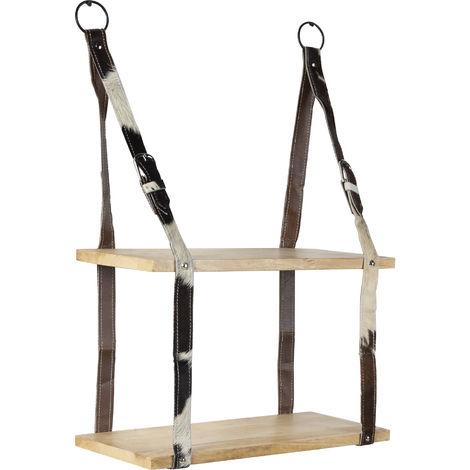 QAZQA Estante de pared industrial con 2 estantes de madera y correas de cuero - Cinturón