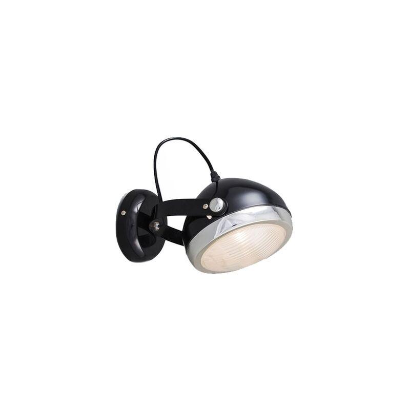 QAZQA Faretto da soffitto/parete Biker - Retrò - Vetro,Acciaio - Nero/Cromo - Tondo/Sfera Max. 1 x Watt