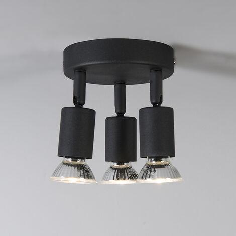 QAZQA Faretto da soffitto/parete jeany - Moderno - Metallo - Nero - Tondo Max. 3 x Watt - 93277