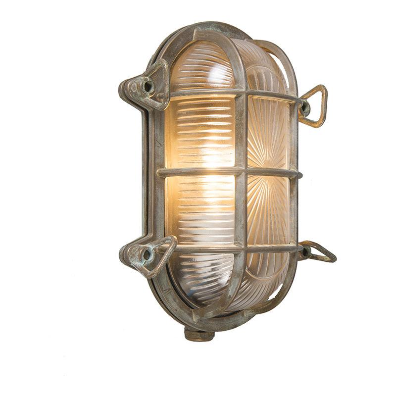 Faretto da soffitto/parete nautica - rustico - Acciaio,Vetro - Marrone - Ovale Max. 1 x Watt - Qazqa