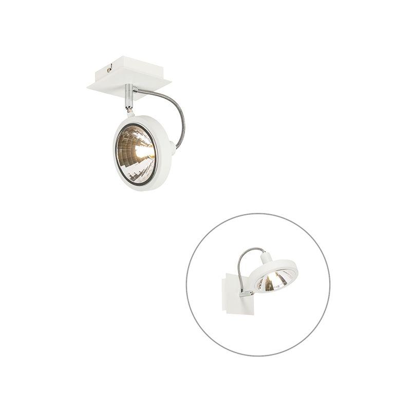 QAZQA Faretto da soffitto/parete nox - Design - Acciaio - Bianco - Quadrato Max. 1 x Watt