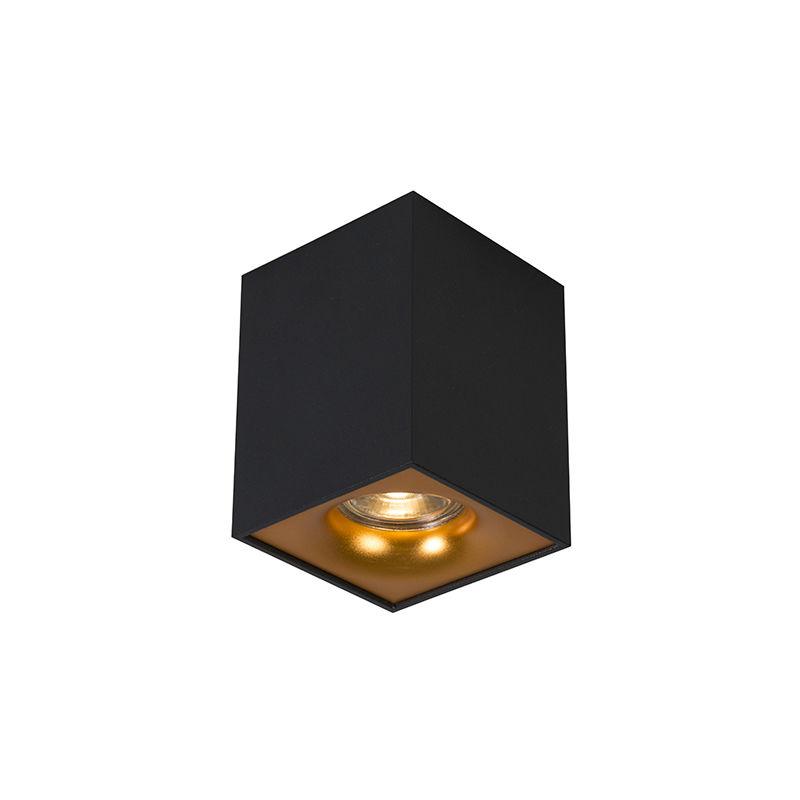 QAZQA Faretto quba - Moderno - Acciaio - Nero/Oro - Cubo Max. 1 x Watt