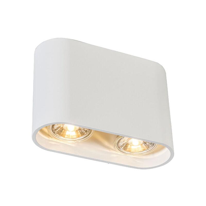 Faretto ronda - Design - Metallo - Bianco - Ovale Max. 2 x Watt - Qazqa