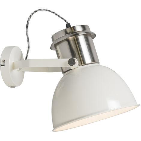 QAZQA Industrial Aplique industrial crema - INDUSTRIAL Metálica Redonda Adecuado para LED Max. 1 x 40 Watt