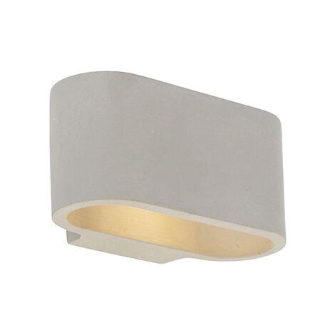 QAZQA Industrial Aplique industrial hormigón - ARLES Piedra/cemento Ovalada Adecuado para LED Max. 1 x 25 Watt