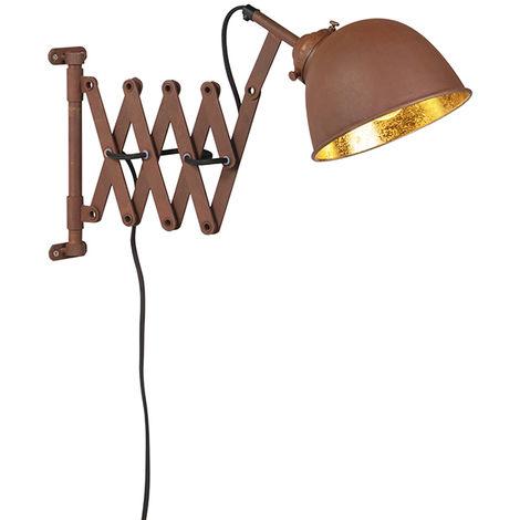 QAZQA Industrial Aplique industrial marrón dorado acordeón-extensible - SCISSORS Acero Alargada /Orgánica Adecuado para LED Max. 1 x 40 Watt