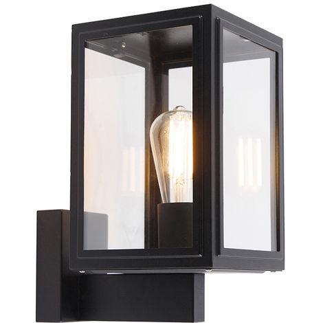QAZQA Industrial Aplique rústico negro IP44 - SUTTON Up Acero inoxidable /Vidrio Cubo /Cuadrada Adecuado para LED Max. 1 x 100 Watt