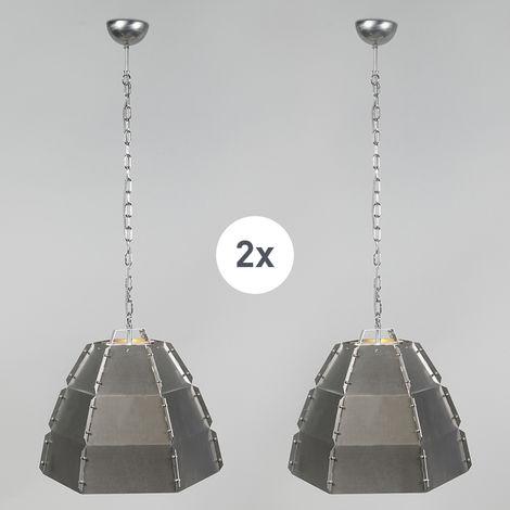 QAZQA Industrial Conjunto de 2 lámparas colgantes de diseño de acero desnudo - Niro Metálica Redonda Adecuado para LED Max. 1 x 60 Watt