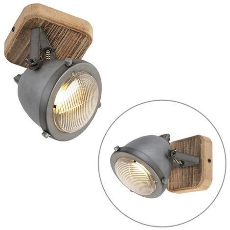 QAZQA Industrial Foco industrial acero madera orientable - EMADO /Acero Redonda Adecuado para LED Max. 1 x 25 Watt