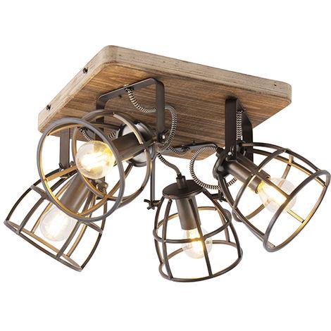 QAZQA Industrial Foco industrial negro con 4 luces regulables en madera - Arthur Acero / Cuadrada /Redonda Adecuado para LED Max. 4 x 25 Watt