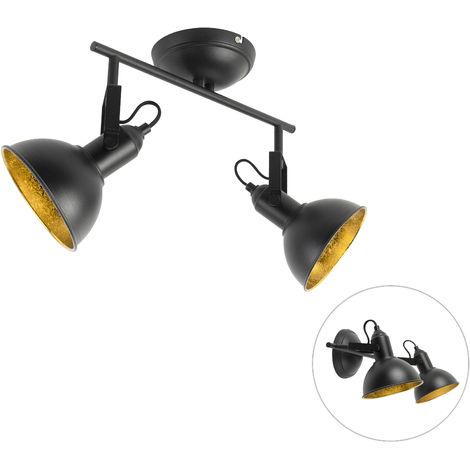 QAZQA Industrial Foco industrial negro interior dorado 1-luz - TOMMY Acero Redonda Adecuado para LED Max. 1 x 28 Watt