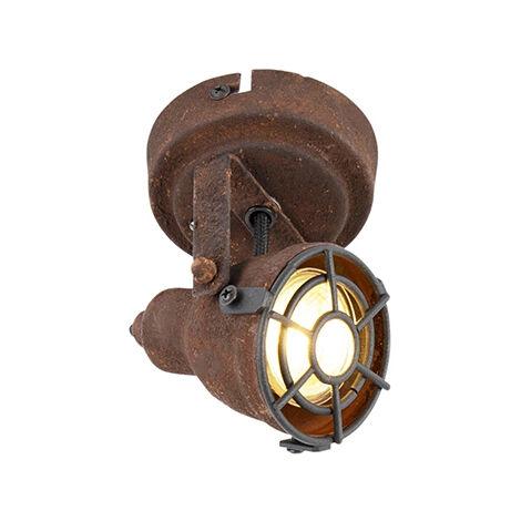 "main image of ""QAZQA Industrial Foco industrial óxido - SORRA Acero Redonda Adecuado para LED Max. 1 x 25 Watt"""