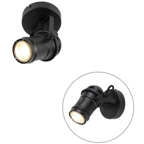 QAZQA Industrial Foco industrial studio negro E27 con pestañas -MOVIE Acero Cilíndra /Redonda Adecuado para LED Max. 1 x 60 Watt