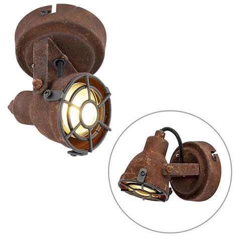 QAZQA + Industrial Foco marrón óxido bombilla-WiFi GU10 - SORRA Acero Redonda Adecuado para LED Max. 1 x 5 Watt