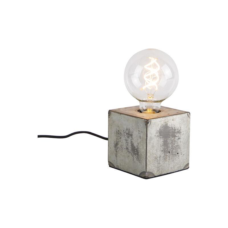 Industrial Lámpara de mesa industrial gris - SAMIA SABO Acero Cuadrada Adecuado para LED Max. 1 x 25 Watt - Qazqa