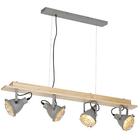 QAZQA Industrial Lámpara colgante industrial 4 luces gris - Antigo Madera /Acero Alargada /Rectangular Adecuado para LED Max. 4 x 25 Watt