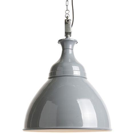 QAZQA Industrial Lámpara colgante industrial gris/blanco - BOB Metálica Redonda Adecuado para LED Max. 1 x 40 Watt