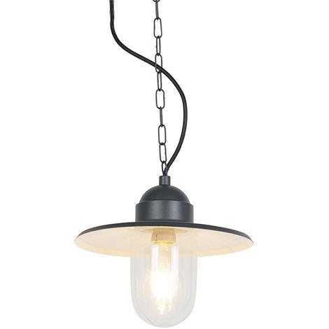 QAZQA Industrial Lámpara colgante rústica antracita IP44 - KANSAS Vidrio /Metálica Redonda Adecuado para LED Max. 1 x 60 Watt