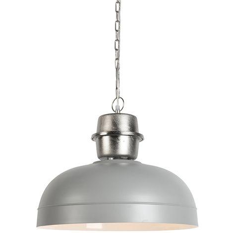 QAZQA Industrial Lámpara colgante SANI gris Metálica Redonda Adecuado para LED Max. 1 x 40 Watt