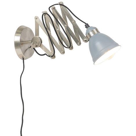 QAZQA Industrial Lámpara de pared industrial de tijera en acero tellable - Avera Metálica Otros Adecuado para LED Max. 1 x Watt