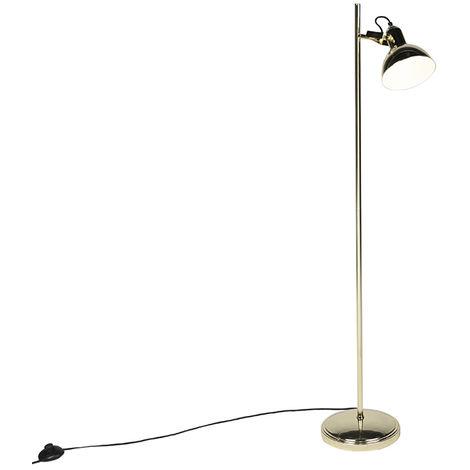 QAZQA Industrial Lámpara de pie Art Deco dorada 1 luz - Tommy Acero Alargada /Redonda Adecuado para LED Max. 1 x 28 Watt