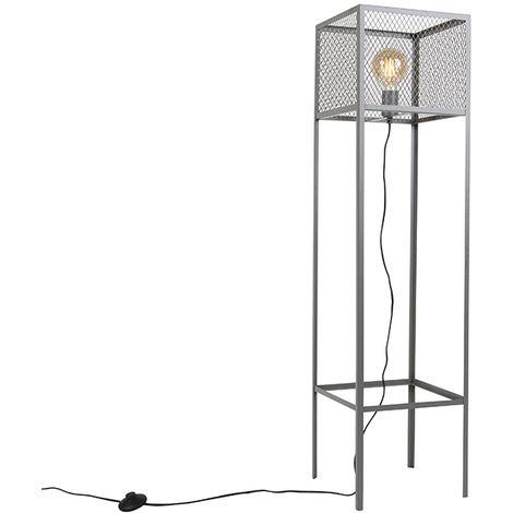 QAZQA Industrial Lámpara de pie cuadrada industrial plata envejecida- CAGE Robusto Acero Rectangular /Alargada Adecuado para LED Max. 1 x 40 Watt