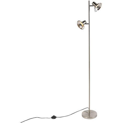 QAZQA Industrial Lámpara de pie de diseño plateada 2 luces - Avril Acero Alargada /Orgánica Adecuado para LED Max. 2 x 25 Watt