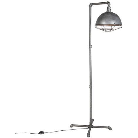 QAZQA Industrial Lámpara de pie industrial plata antigua - COURSE Acero Alargada /Redonda Adecuado para LED Max. 1 x 60 Watt