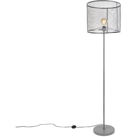 QAZQA Industrial Lámpara de pie industrial redonda plata envejecida - CAGE Robusto Acero Cilíndra /Alargada Adecuado para LED Max. 1 x 40 Watt