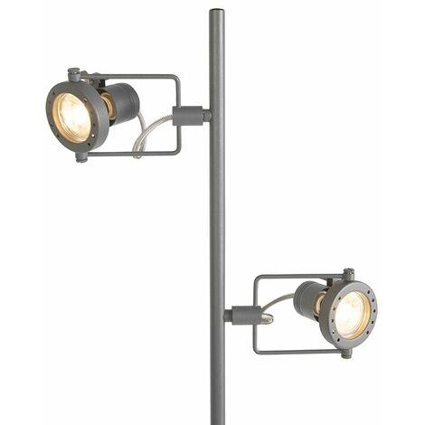 QAZQA Industrial Lámpara de pie SUPLUX 2 gris oscuro Metálica Alargada Adecuado para LED Max. 2 x 50 Watt