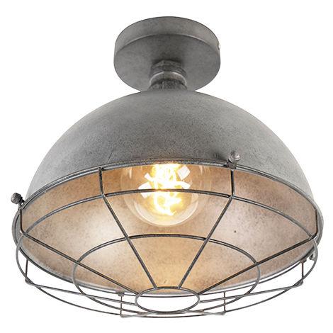 QAZQA Industrial Lámpara de techo industrial plata antigua 25.5 cm - Course Acero Redonda /Otros Adecuado para LED Max. 1 x Watt