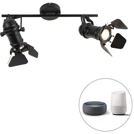 QAZQA + Industrial Lámpara de techo negro 2-bombillas- WiFi GU10 solapas - MOVIE Acero inoxidable Redonda /Alargada Adecuado para LED Max. 2 x 5 Watt