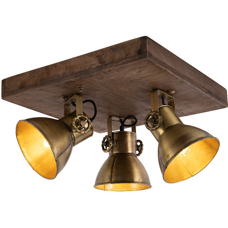 QAZQA Industrial Plafón bronce madera 3-luces - MANGOES Acero / Cuadrada Adecuado para LED Max. 3 x 25 Watt