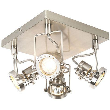 QAZQA Industrial Plafón industrial acero 4-luces giratorio - SUPLUX Acero Cuadrada Adecuado para LED Max. 4 x 50 Watt
