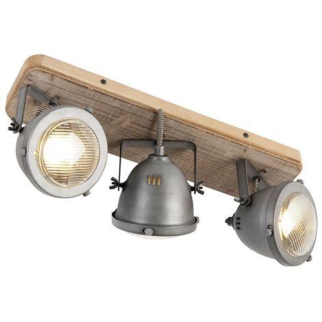QAZQA + Industrial Plafón industrial acero madera inclinable 3-luces - EMADO /Acero Alargada Adecuado para LED Max. 3 x 25 Watt