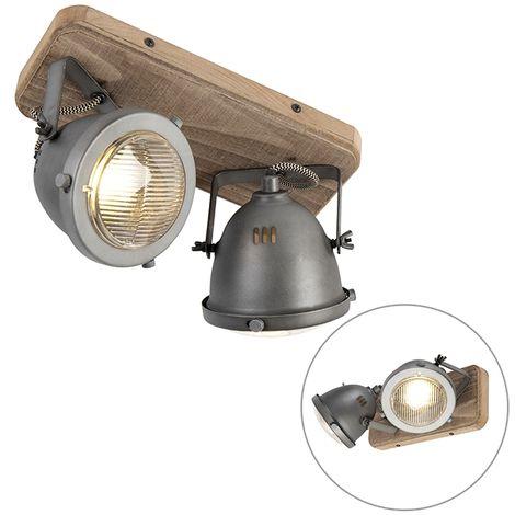 QAZQA + Industrial Plafón industrial acero madera orientable 2-luces - EMADO /Acero Alargada Adecuado para LED Max. 2 x 25 Watt